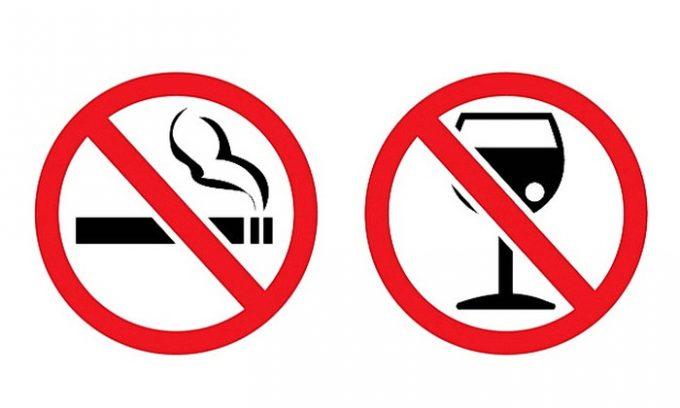 Отказ от сигарет и алкоголя -
